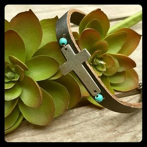 Leather Bracelet with Silver Cross Turquoise Beads